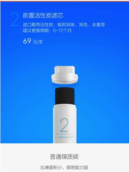 Xiaomi Water Purifier (小米净水器) - filters - Tube 2 (overview)