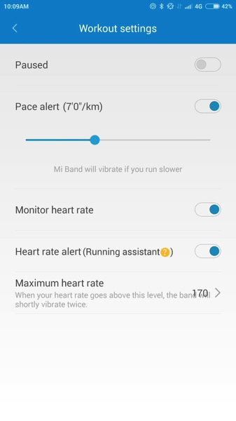 Mi Band Pulse (小米手环光感版) - workout - settings