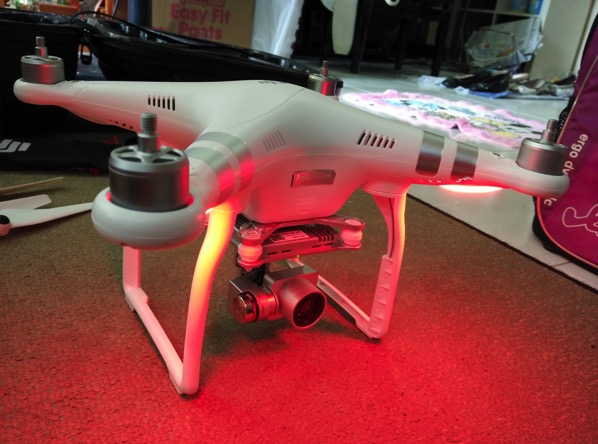 Phantom 3 Advanced - DJI GO app console - aircraft warming up