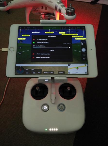 Phantom 3 Advanced - DJI GO app console - main dashboard - attached to RC