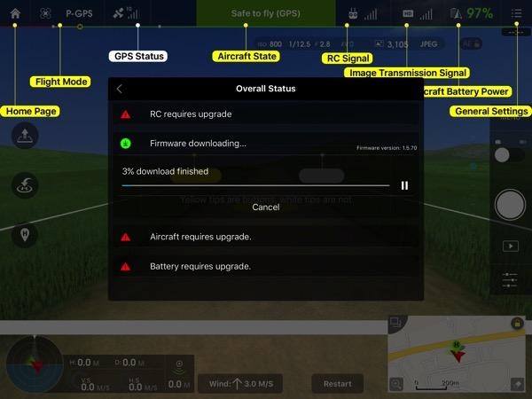 Phantom 3 Advanced - DJI GO app console - main dashboard