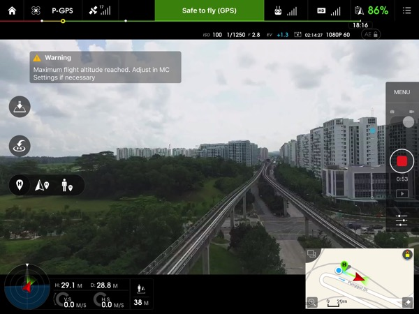 Phantom 3 Advanced - dashboard view with realtime video