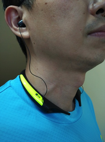75b508a9992 G TONE Active Premium Wireless Stereo Headset HBS-850 Lime - wearing front  view
