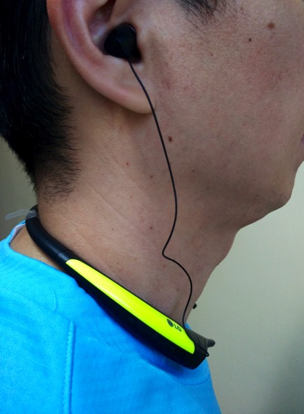 G TONE Active Premium Wireless Stereo Headset HBS-850 Lime - wearing side view