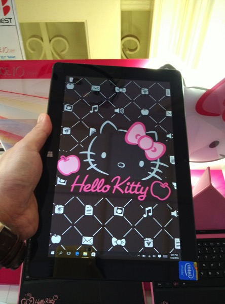 42e85b20d Grace 10 Light Hello Kitty Tablet PC - Pigo keyboard (front view on hand)