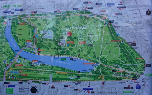 Hyde Park - map around the park