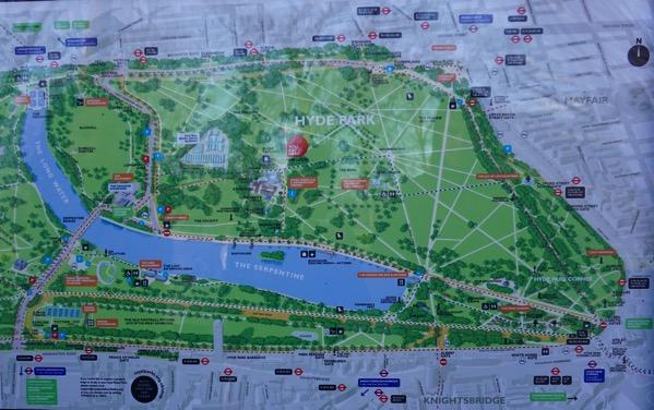 Hyde Park - map around the park