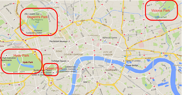 Major parks in Central London - map