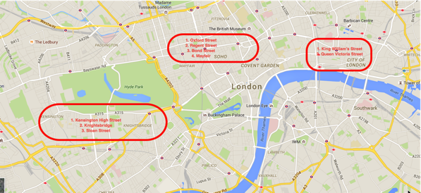 Shopping streets in Central London - Map
