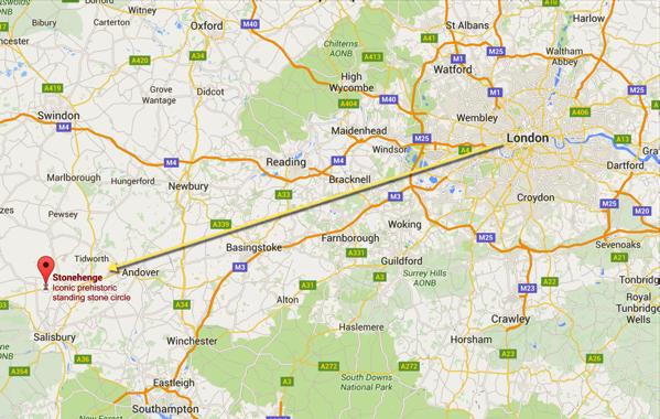 Stonehenge - location on map