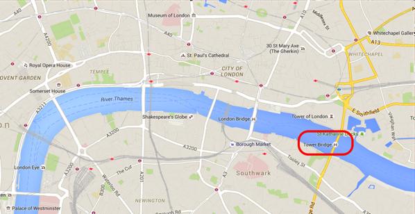 Tower Bridge - Location on map
