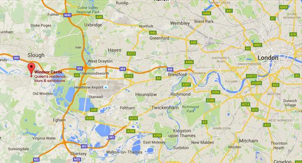 Windsor Castle - Location on Map