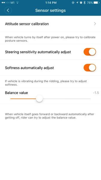 Xiaomi Ninebot (小米九号平衡车) - Ninebot App - Sensor configurations