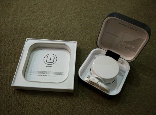 Clearglass Amber Apple Watch Charging Case - unboxed 2