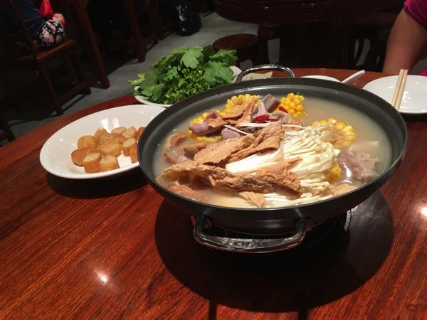Soup Restaurant buffet - sliced pig stomach soup