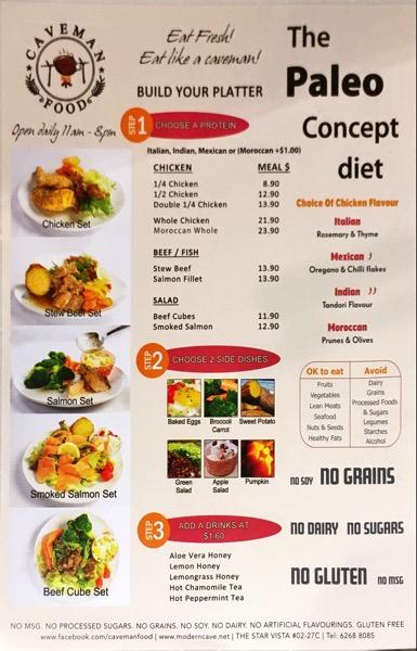 Caveman Food (Paleo) - food menu