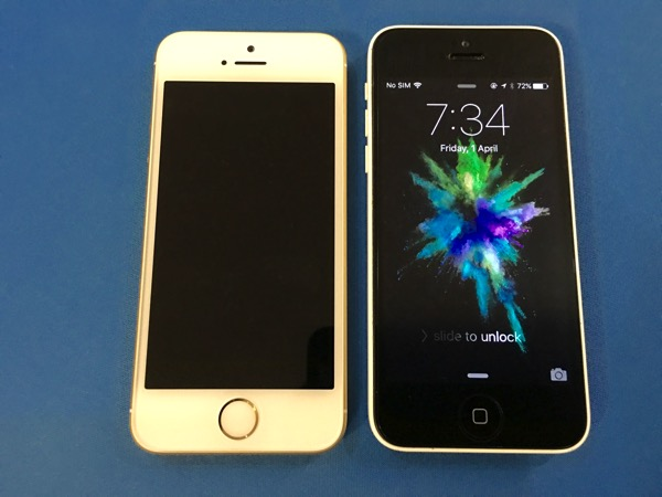iPhone SE vs iPhone 5C - front view