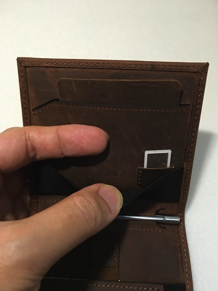 Aki Crazy Horse Leather Wallet - Sim Card slot