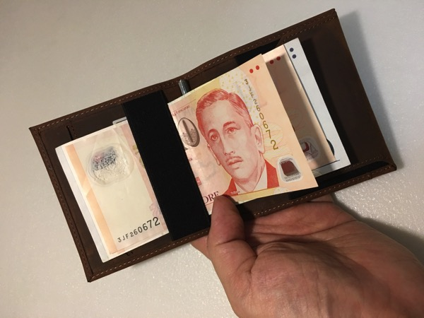 Aki Crazy Horse Leather Wallet - elastic band for cash notes