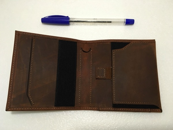 Aki Crazy Horse Leather Wallet - full view (inside)