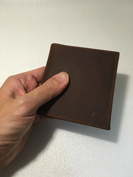 Aki Crazy Horse Leather Wallet - wallet in hand