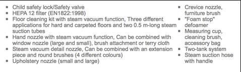 Karcher SV7 Steam Vacuum Cleaner - Accessories list