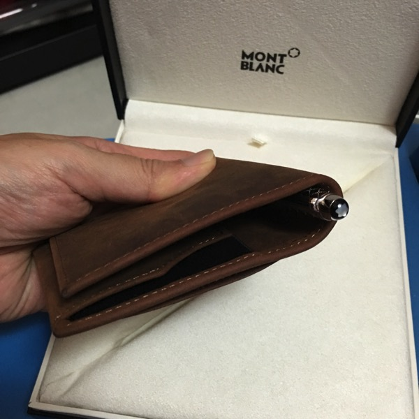 Kisetsu Crazy Horse Wallet - with montblanc pen (opened)