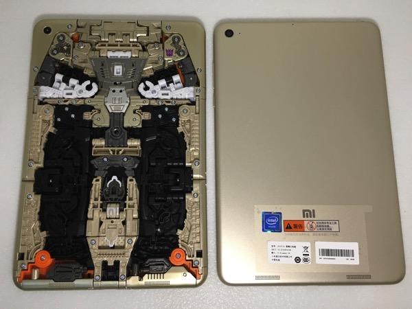 Xiaomi MiPad Transformer SoundWave - transformer vs actual MiPad (back)