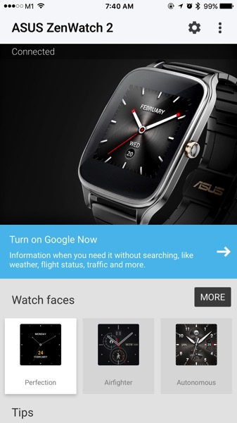 ASUS ZenWatch 2 WI501Q - setup watch - Android Wear app