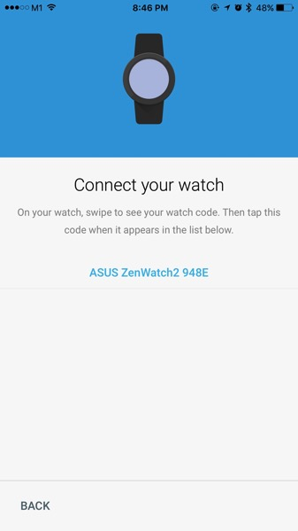 ASUS ZenWatch 2 WI501Q - setup watch - detect watch for pairing