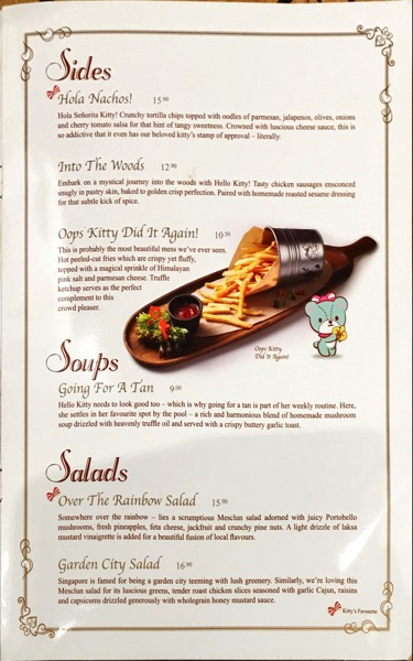 Hello Kitty Orchid Garden Singapore Cafe - Food Menu Pg3