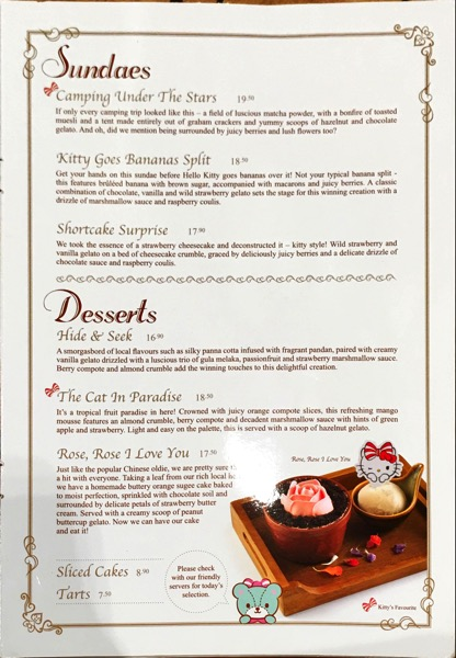 Hello Kitty Orchid Garden Singapore Cafe - Food Menu Pg6
