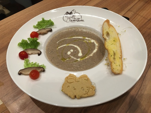Hello Kitty Orchid Garden Singapore Cafe - mushroom soup