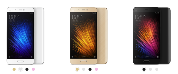 Xiaomi Mi 5 Smartphone - all colours