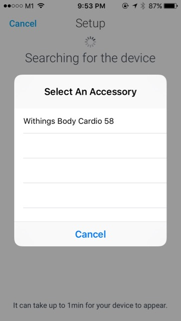 Withings Body Cardio Weighing Scale (WBS04) - setup - bluetooth detect and connect