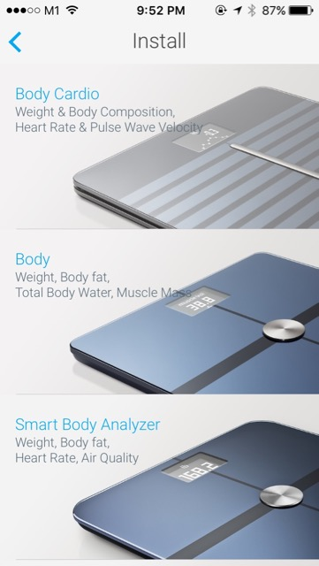 Withings Body Cardio Weighing Scale (WBS04) - setup - choose body cardio