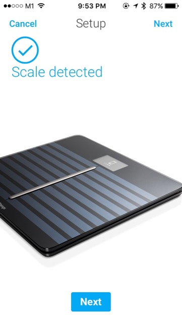 Withings Body Cardio Weighing Scale (WBS04) - setup - scale connected