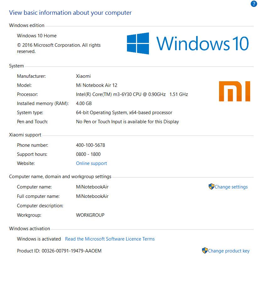 Xiaomi Mi Notebook Air Review - Setup OEM Logo (Control Panel)