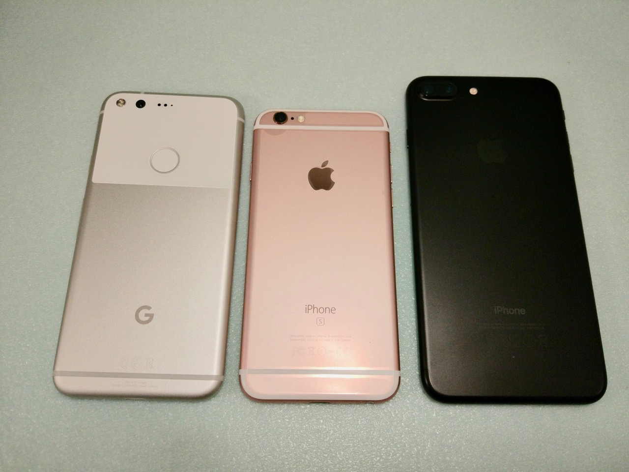 google-pixel-review-compare-pixel-vs-iphone-7-vs-iphone-7-plus-back-view